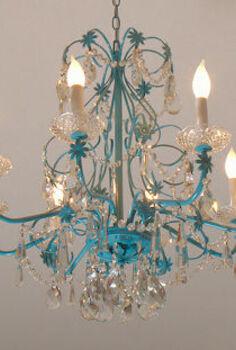 blue chandelier redo, home decor, lighting, After