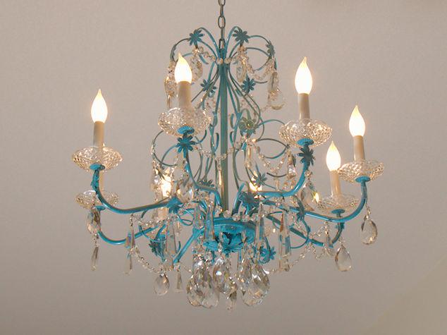 Blue chandelier redo hometalk blue chandelier redo home decor lighting after aloadofball Image collections