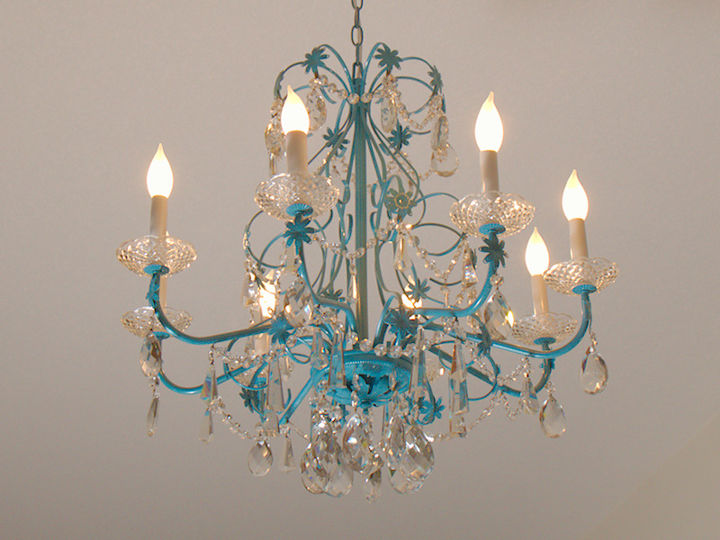 Blue chandelier redo hometalk blue chandelier redo home decor lighting after aloadofball