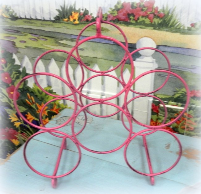 Upcycled Hot Pink Metal Wine Rack