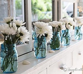 a bit of nautiical decorating with blue mason jars and flowers home decor Line & A Bit of Nautiical Decorating With Blue Mason Jars and Flowers ...