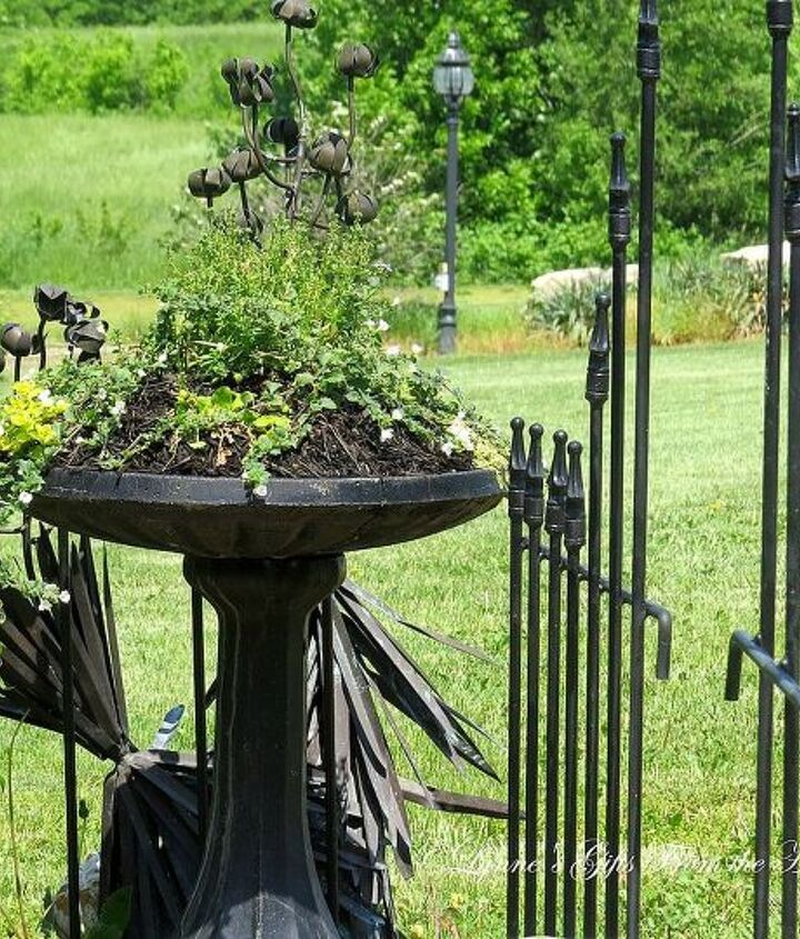 repoursing a bird bath lynnesgiftsfromtheheart com, flowers, gardening, repurposing upcycling