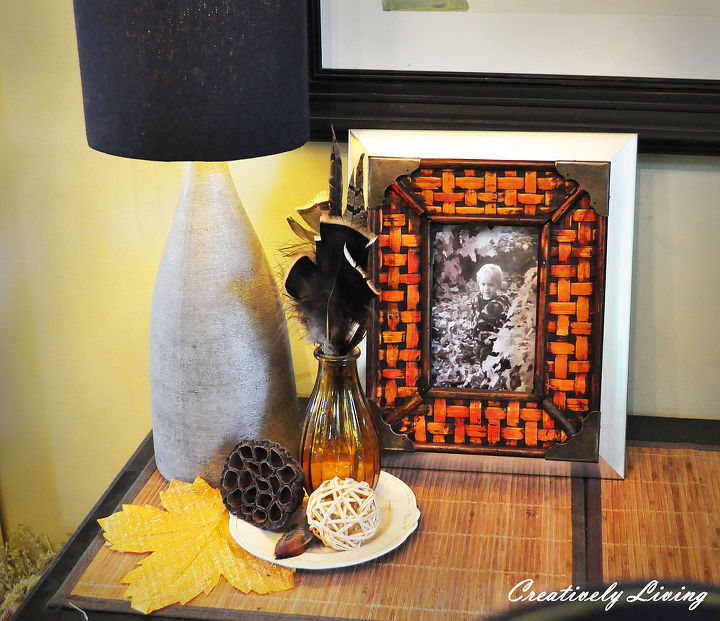 fall feather vases, home decor