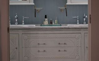 buffet to vanity, painted furniture, A lick of paint a custom marble top faucets and VOILA