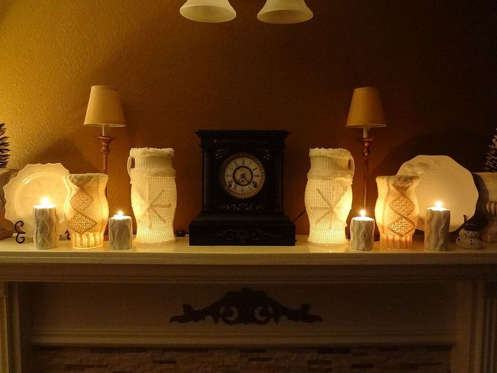 Winter mantel showing all four sweater covered hurricane globes.