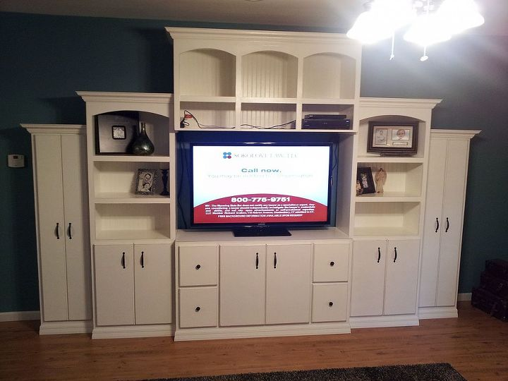 new entertainment center, painted furniture, woodworking projects, TV is 55 so that might help understanding the size of it