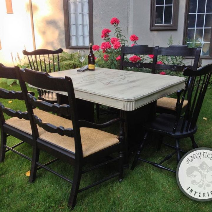 Compass Table with Art Shoppe benches