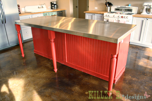 The back of the kitchen island, with space for stools.