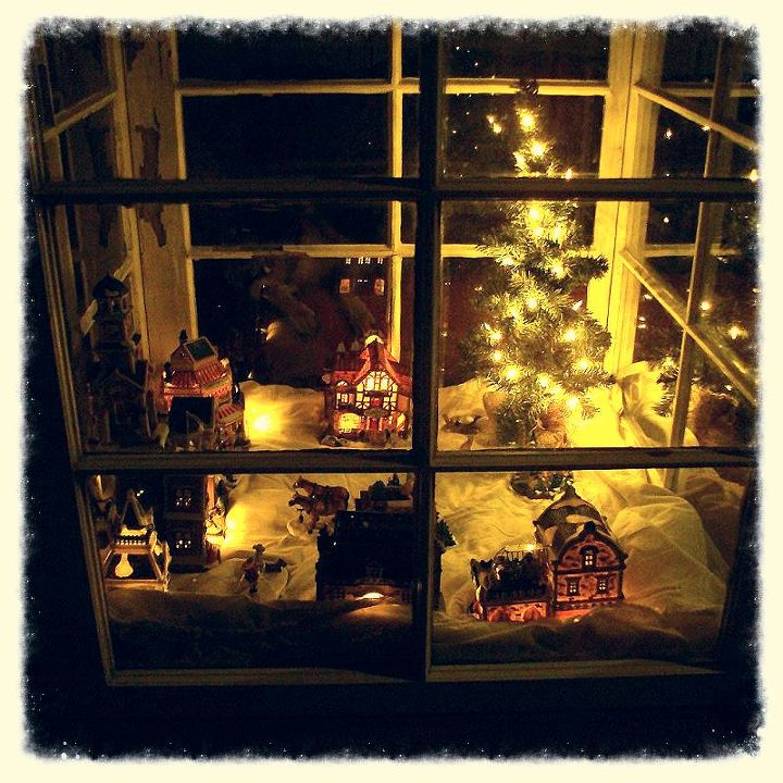 Christmas Village at night.
