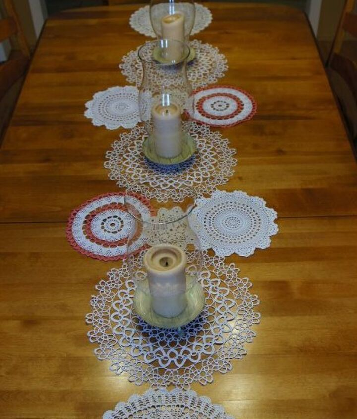 doily table runner, home decor