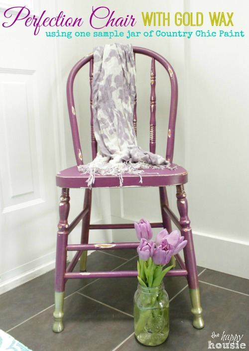 perfection chair with gold dipped legs and gold wax, painted furniture