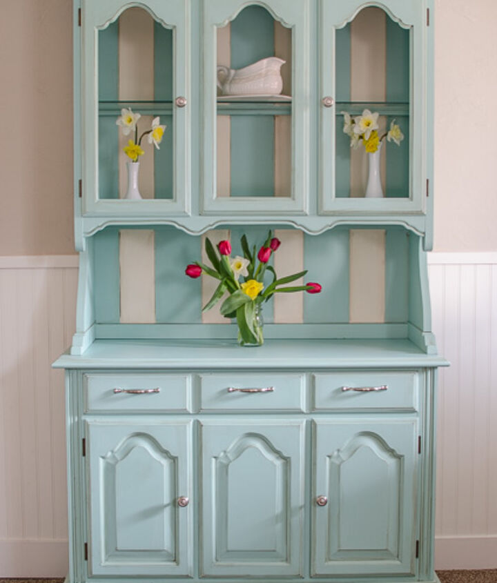 teal hutch, painted furniture