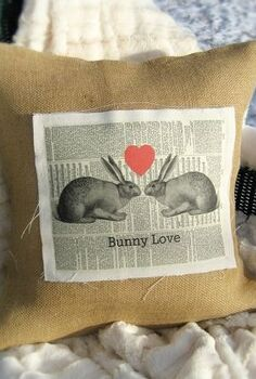 not just for valentine s day my burlap and linen bunny love pillow, crafts, seasonal holiday decor, valentines day ideas
