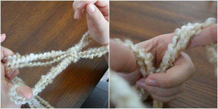 how to arm knit a blanket in only one hour, crafts