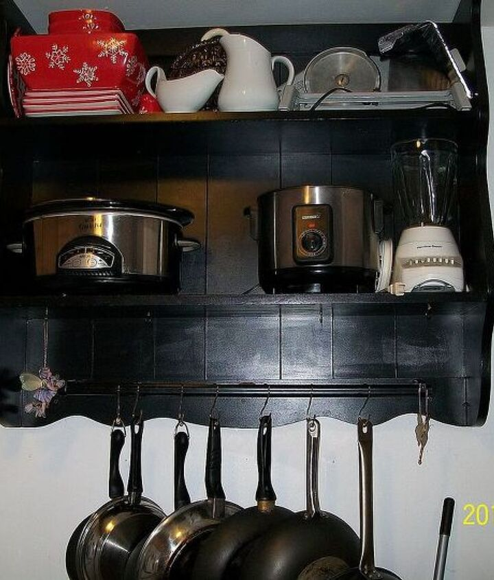 recycled hubby old bedroom hutch to kitchen shelving, painted furniture, repurposing upcycling
