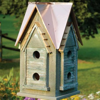 Copper top houses are great for warmer climates as they keep the inside temperature pretty stable. Make sure your birdhouses have easy cleaning capability as well. You need to clean them each season to ensure new guests will arrive.