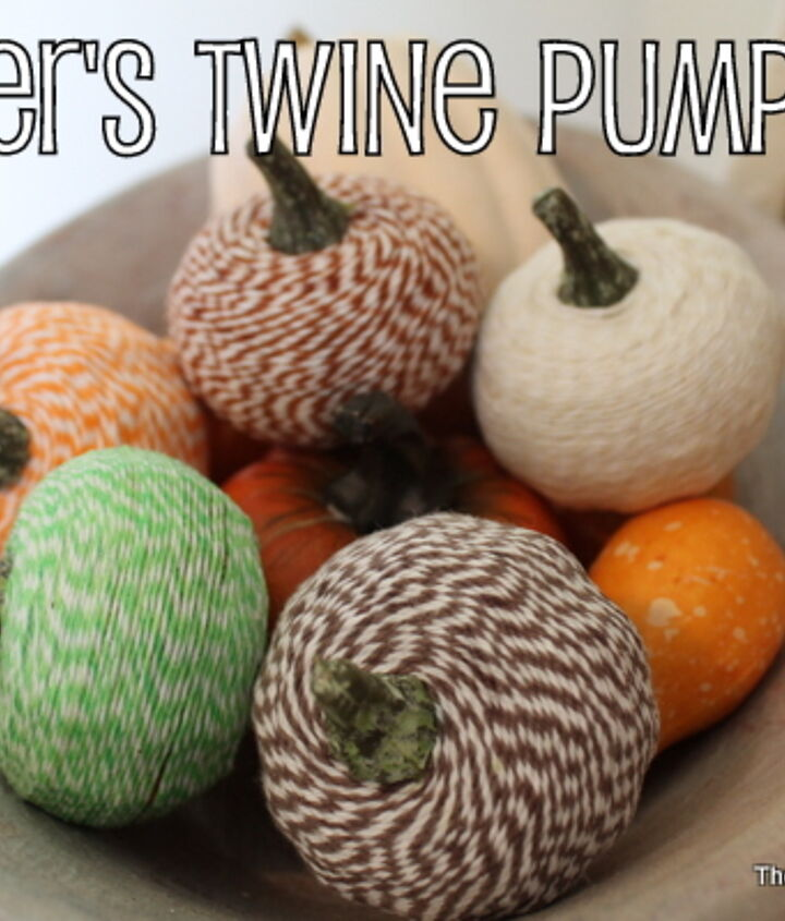 Completed baker's twine pumpkins in a bowl for display.  Learn how to make them here:  http://www.thecountrychiccottage.net/2012/10/bakers-twine-pumpkins.html