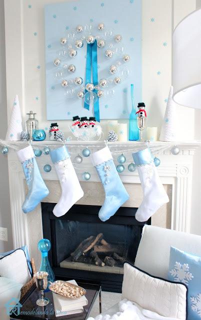 blue christmas mantel, christmas decorations, seasonal holiday decor