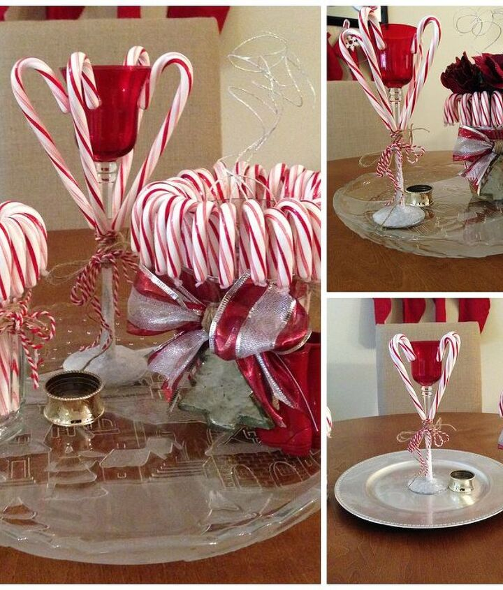 Picture of the finished DIY Candy Cane Candle