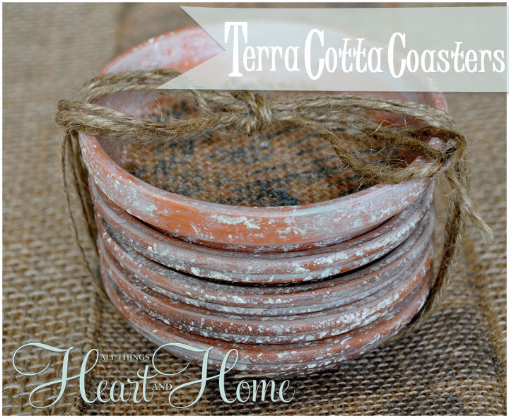 easy diy terra cotta coasters, crafts, decoupage, Faux Aged Terra Cotta saucers with a bit of burlap ribbon make adorable coasters I used burlap ribbon from Hobby Lobby that looks stenciled but any fabric you like would work