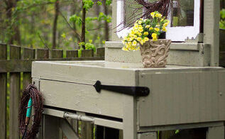 use an upcycled potting bench for bare garden spaces, gardening, outdoor living, repurposing upcycling, woodworking projects