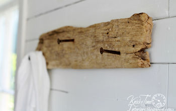 driftwood repurposed date nails wall hooks, repurposing upcycling, storage ideas