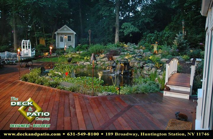 Ipe deck that overhangs 18' x 36' Koi pond.