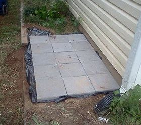 Trash Can Patio, Concrete Masonry, Patio, Third Row Done Learning How To  Pave