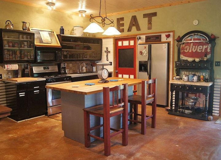 rusty old metal cabinet turned butcher block island, kitchen cabinets, kitchen design, kitchen island, painted furniture, repurposing upcycling, View of our kitchen with butcher block island