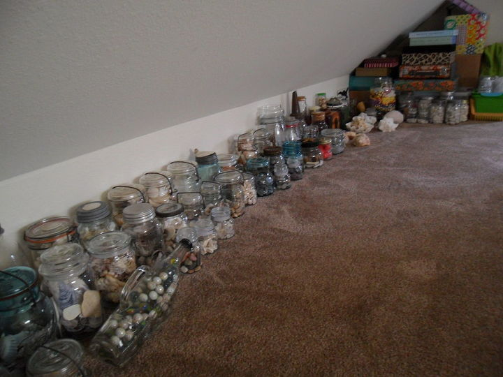 my private zen and precious collection of shells sea glass and other treasures, crafts, mason jars