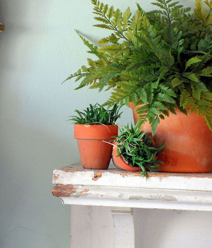 Ferns in terra cotta pots make a real statement when grouped across the entire mantel.