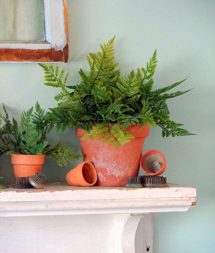 spring fern mantlescape, fireplaces mantels, home decor