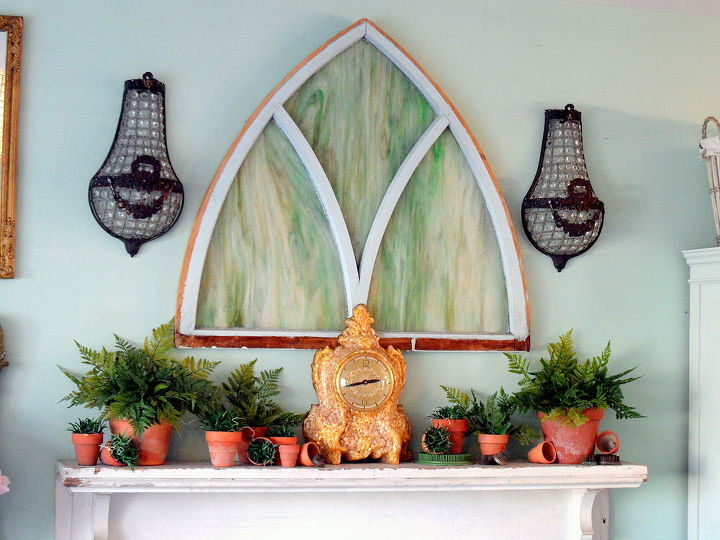 spring fern mantlescape, fireplaces mantels, home decor