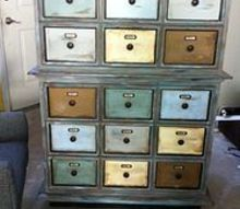 finishing touches on dresser to apothecary cabinet done, painted furniture