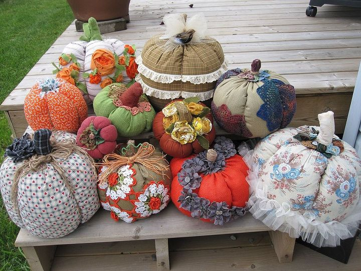 Some of the pumpkins I made with leftover fabric using doilies, ribbon roses, lace trim and whatever else I could get my hands on for embellishments.