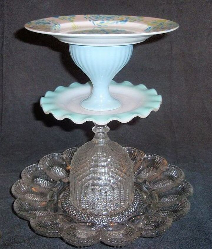 Old egg dish and other dishes.  This can be used to serve deviled eggs and other snacks indoors or outside as a bird feeder.