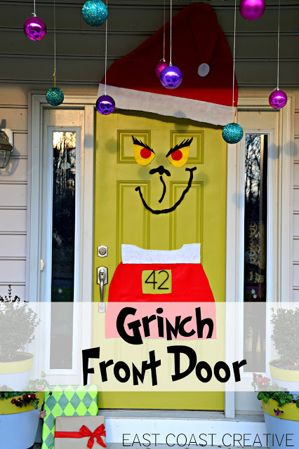 the grinch christmas door, christmas decorations, crafts, doors, seasonal holiday decor, Simple DIY to Grinchify your front door