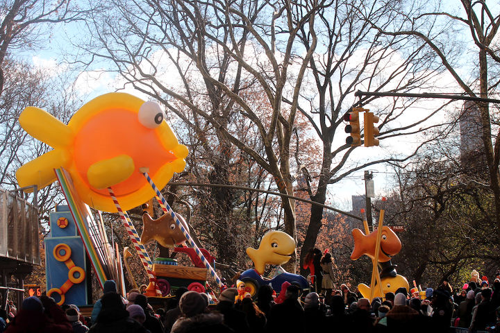 """An unidentified school of fish """"march"""" (swim out of water) in Macy's 2013 Thanksgiving Parade. View Two (at CPW). Image featured @  https://www.facebook.com/media/set/?"""