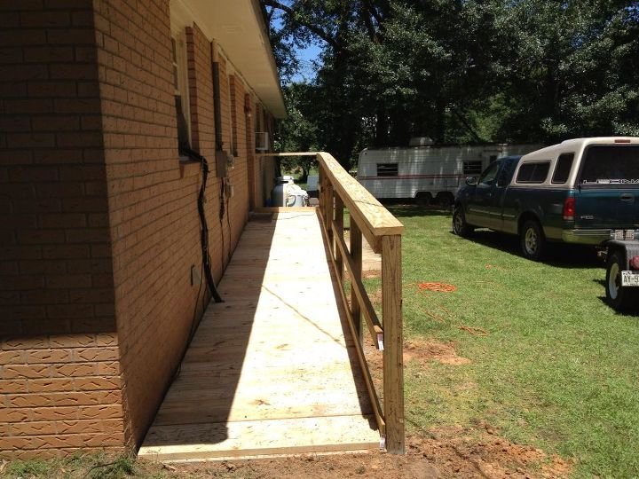 this is one ramp built by our brotherhood for one of our elder members, curb appeal, diy, woodworking projects, The ramp is 2 X6 treated prime lumber this was completed by myself and 5 more men in 8 hours