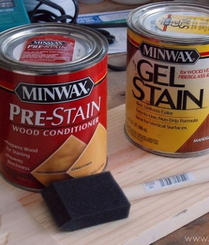 Love using Minwax for all my paint staining needs!   See the full tutorial here: http://sewwoodsy.com/2012/08/revamped-wire-basket-plant-stands.html