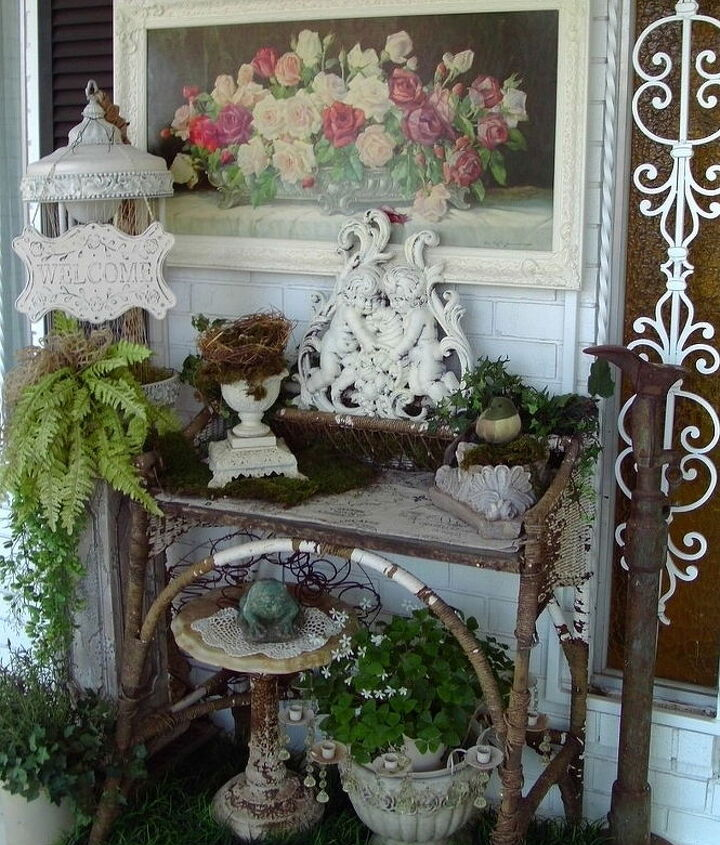 decorating the front porch, gardening