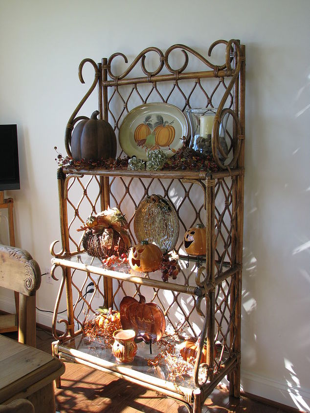 My bakers rack decorated for fall, in the new morning room ...