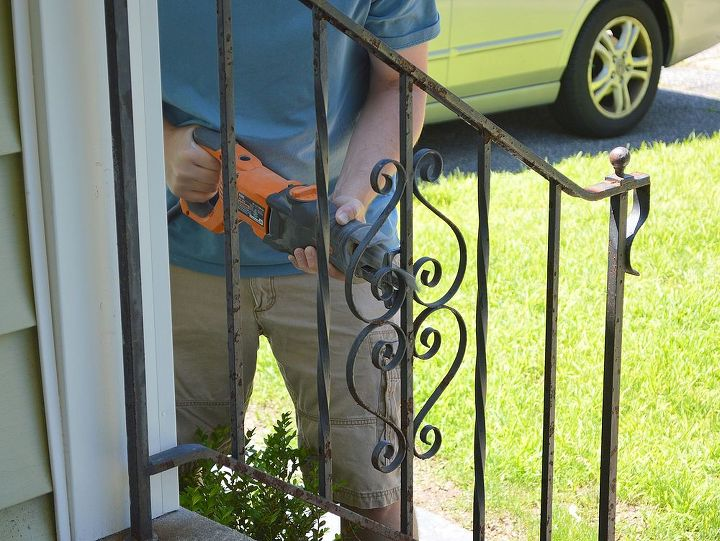 Using a sawzall to remove the iron rails