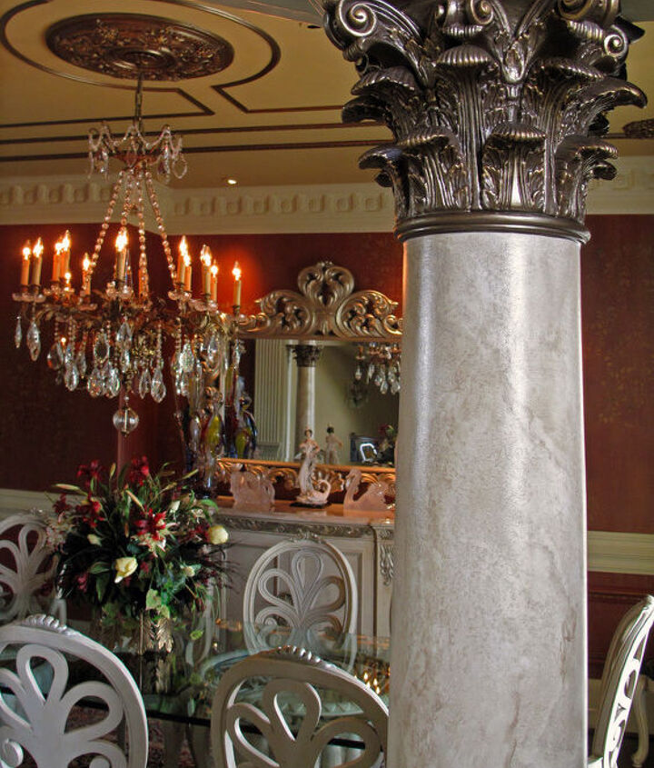Blended with the columns and fabrics.