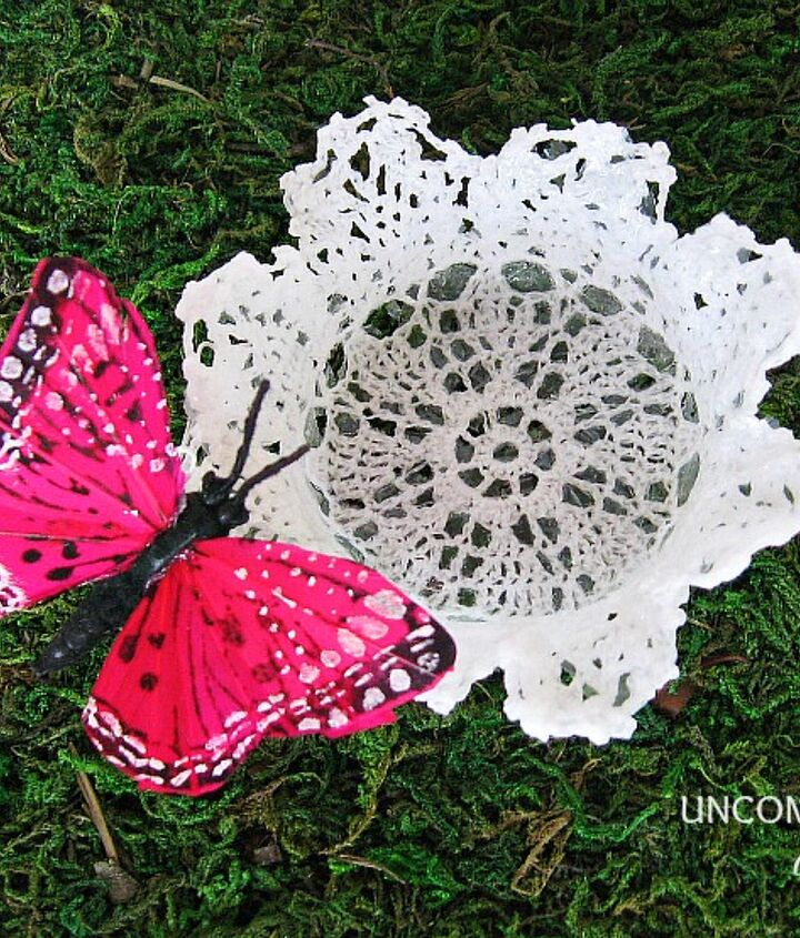 A simple doily and a sweet buttSerfly attached.