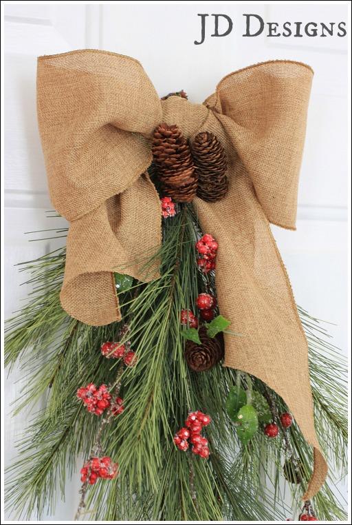 christmas door swag, christmas decorations, seasonal holiday decor