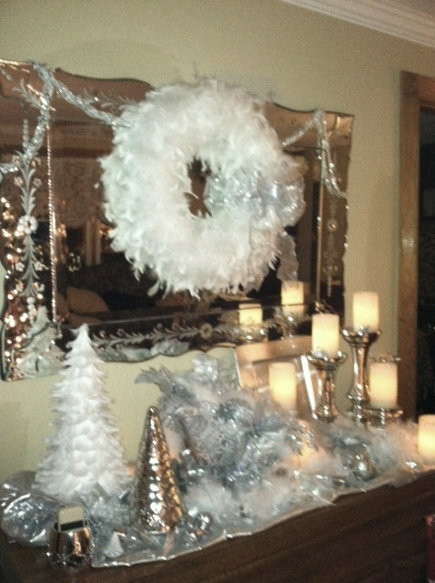Silver clip on poinsettas added another layer of interest,