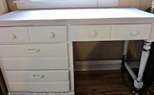 desk makeover paint stain and dropcloth, painted furniture