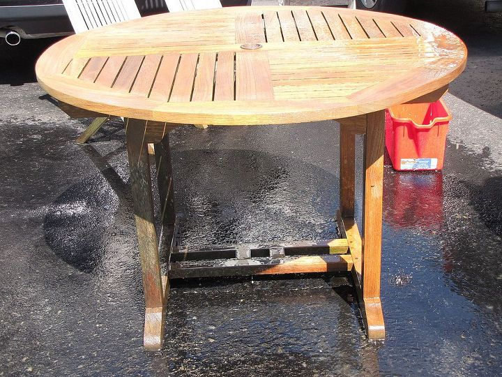 teak table makeover, decks, outdoor furniture, outdoor living, painted furniture, clean with wood cleaner