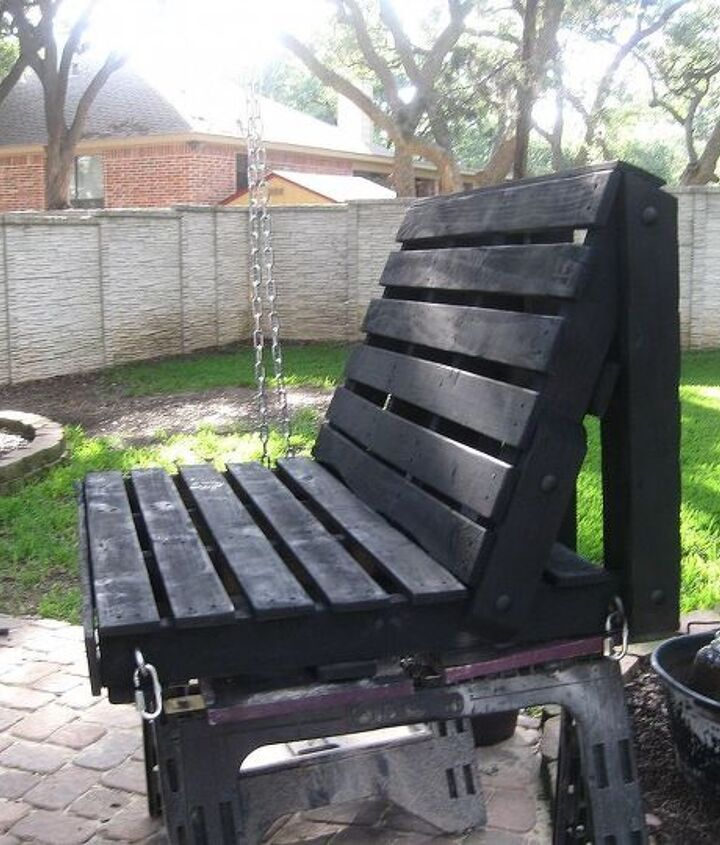 pallet swing, diy, pallet, repurposing upcycling, woodworking projects, Painted it black